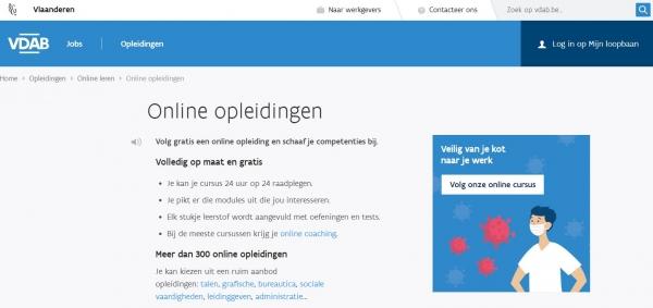 Coronavirus - Recordaantal online opleidingen bij VDAB
